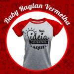 Baby Look Raglan Cinza Mescla – Vermelha
