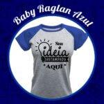 Baby Look Raglan Cinza Mescla – Azul