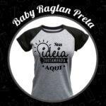 Baby Look Raglan Cinza Mescla – Preta