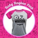 Baby Look Raglan Cinza Mescla – Rosa