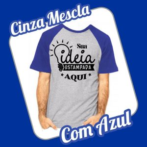 Camiseta Raglan Cinza Mescla – Azul