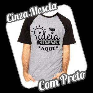 Camiseta Raglan Cinza Mescla – Preto