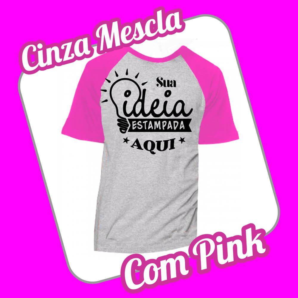 Camiseta Raglan Cinza Mescla – Pink