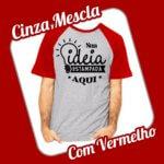 Camiseta Raglan Cinza Mescla – Vermelha