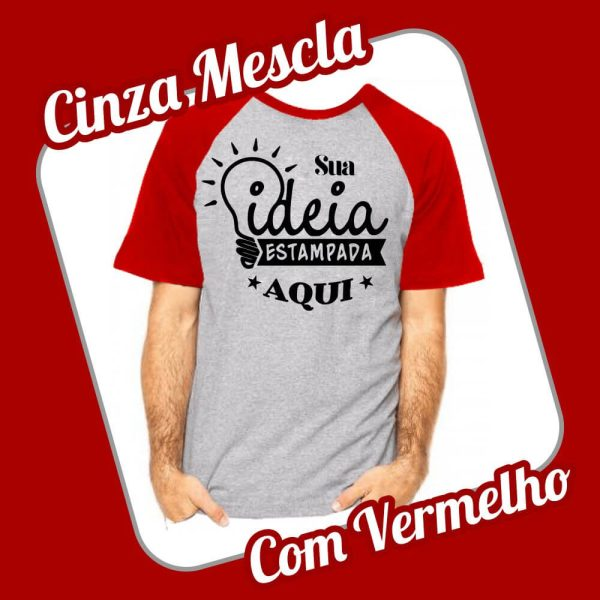 Camiseta Raglan CInza Vermelho