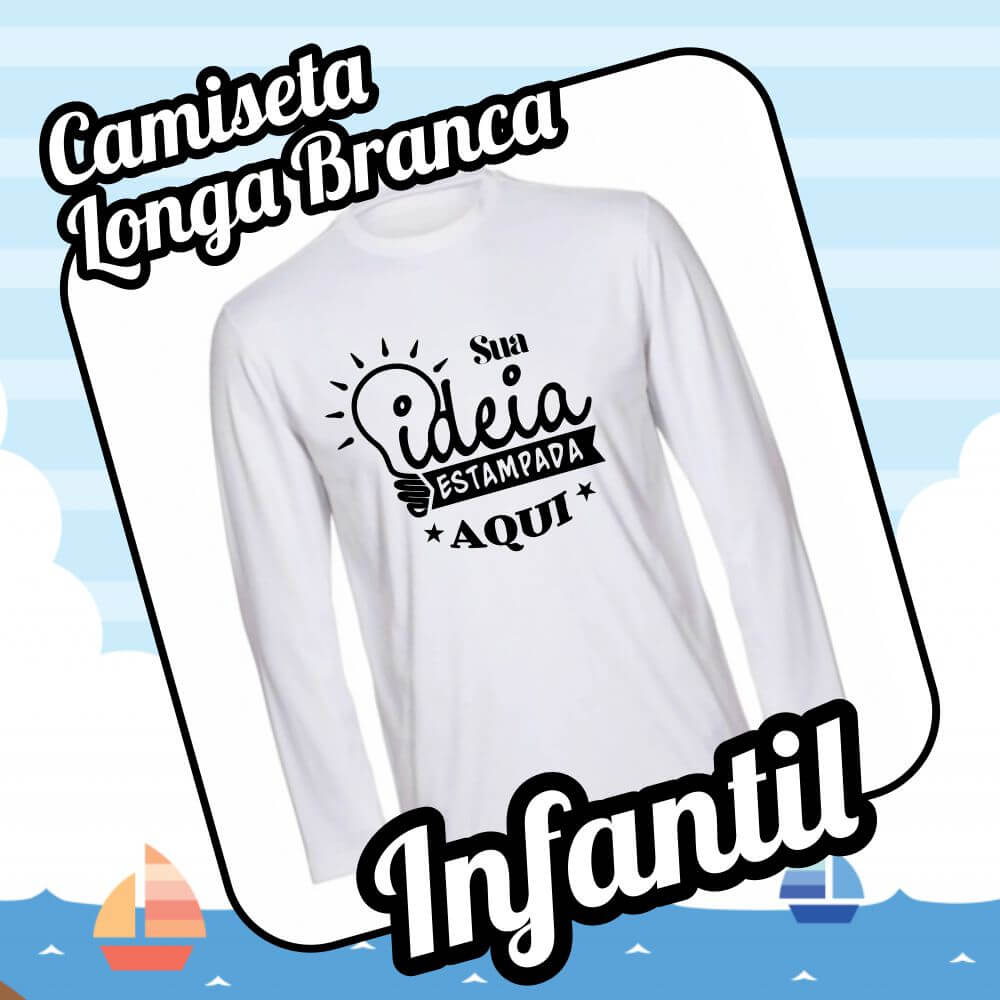 Camiseta Infantil Branca – Manga longa
