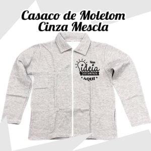 Casaco Moletom c/ zíper Cinza mescla