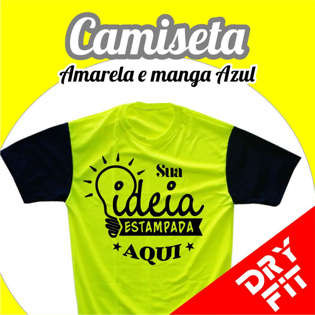 Camiseta  Dry Fit – Amarela com Manga Azul Escuro