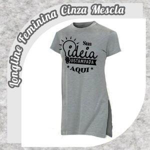 Camiseta Longline Feminina Cinza Mescla