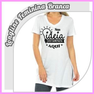 Camiseta Longline Feminina Branca