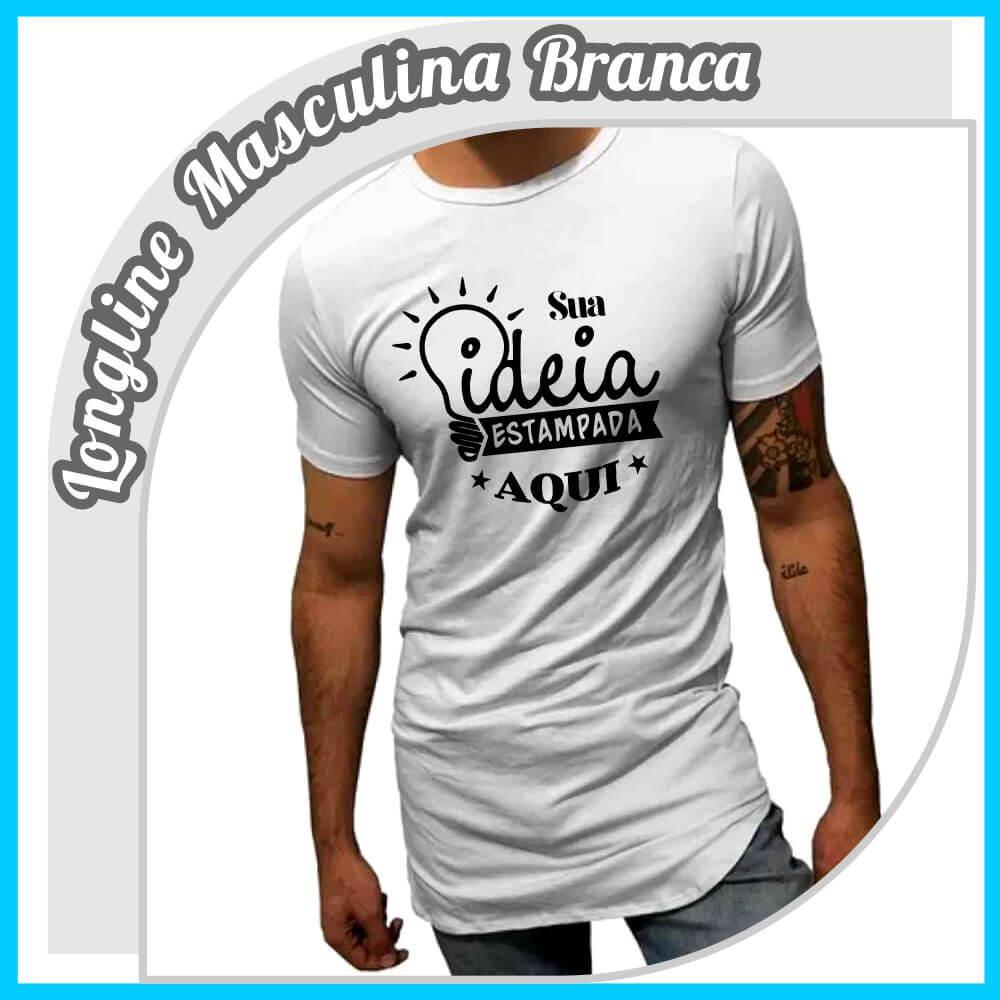 Camiseta Longline Masculina Branca