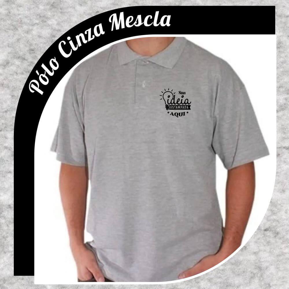 Camiseta Gola Pólo Cinza Mescla