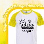 Camiseta Raglan Branca – Manga Amarela