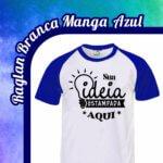 Camiseta Raglan Branca – Manga Azul