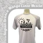 Camiseta Raglan Branca – Manga Cinza Mescla