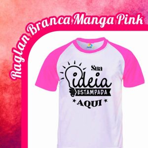 Camiseta Raglan Branca – Manga Pink