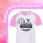 Camiseta Raglan Branca – Manga Rosa
