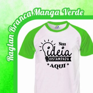 Camiseta Raglan Branca – Manga Verde