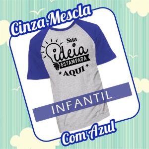 Camiseta RAGLAN Infantil Cinza Mescla com Azul