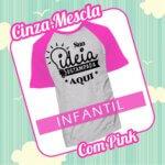 Camiseta RAGLAN Infantil Cinza Mescla com Pink