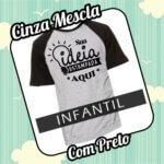 Camiseta RAGLAN Infantil Cinza Mescla com Preto
