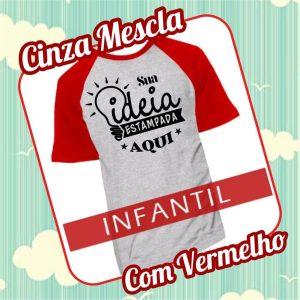 Camiseta RAGLAN Infantil Cinza Mescla com Vermelho