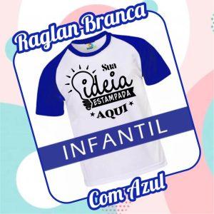Camiseta RAGLAN Infantil Branca com Azul