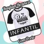 Camiseta RAGLAN Infantil Branca com Preto