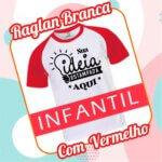 Camiseta RAGLAN Infantil Branca com Vermelho