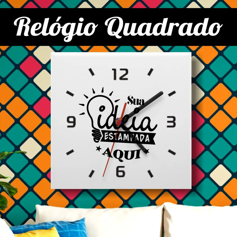 Relógio Azulejo Quadrado 20x20cm