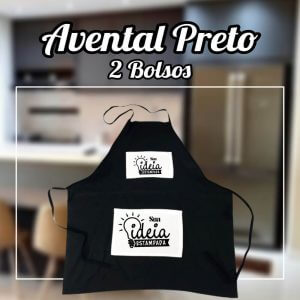 Avental Preto – Bolso Duplo