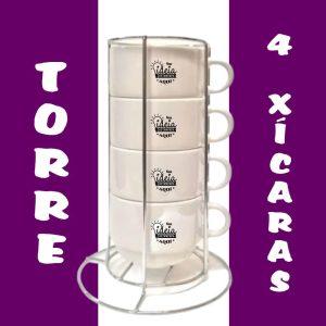 Torre com 4 xícaras e suporte de metal