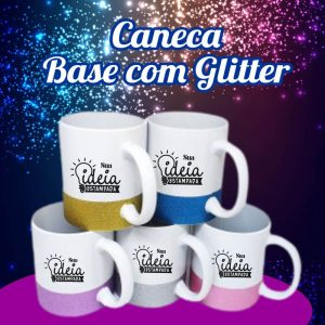 Caneca de Cerâmica Base Glitter