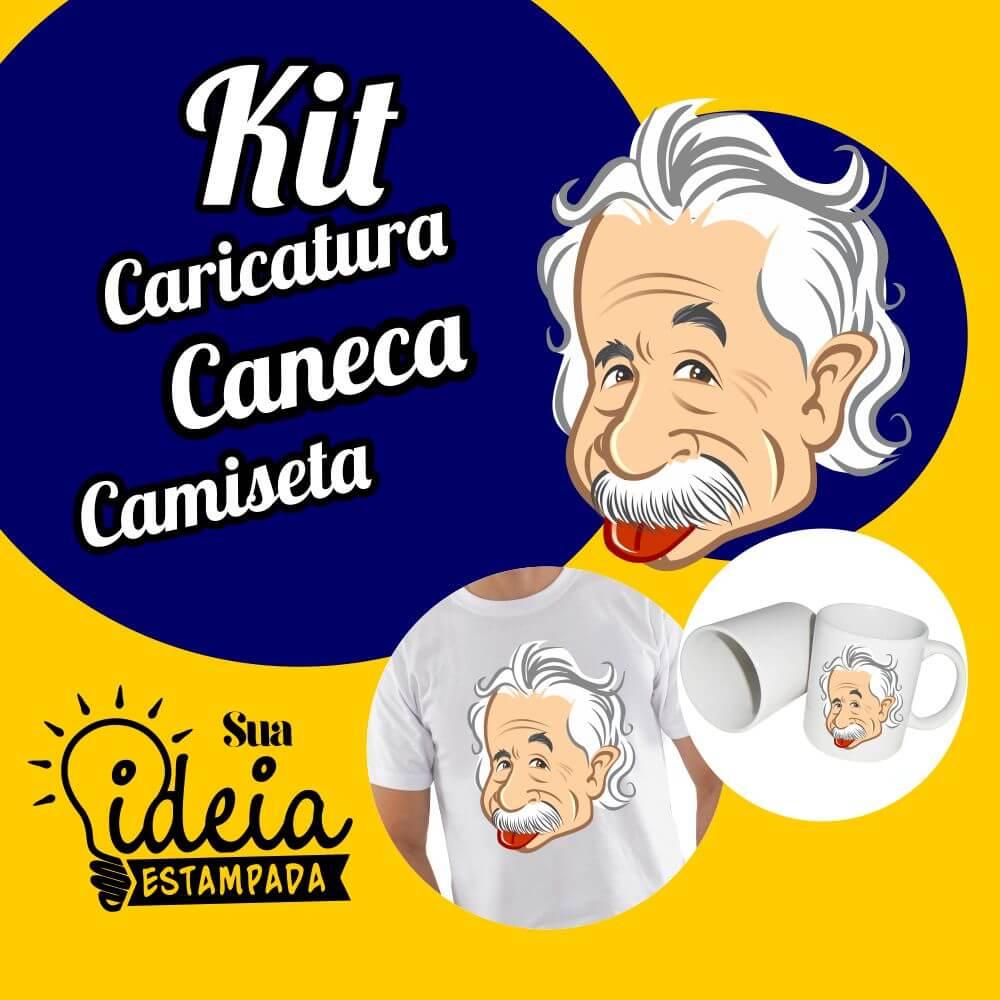 Kit Caricatura + Caneca + Camiseta