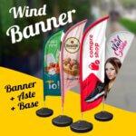 Wind Banner Completo – Banner + Aste + Base