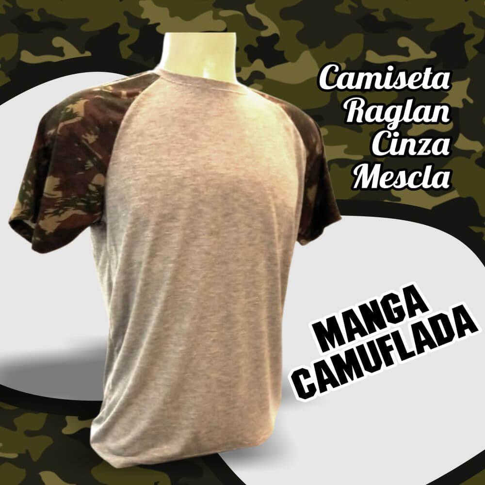 Camiseta Raglan Cinza Mescla Manga Camuflada