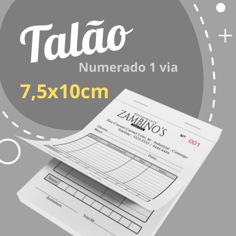 10 Talões Numerados 1 via – Tamanho 7,5x10cm