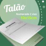 10 Talões Numerados 2 vias Autocopiativo  – Tamanho 10x15cm