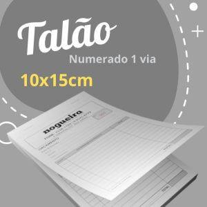 10 Talões Numerados 1 via – Tamanho 10x15cm