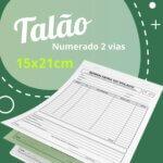 10 Talões Numerados 2 vias Autocopiativo  – Tamanho 15x21cm