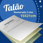 10 Talões Numerados 3 vias Autocopiativo  – Tamanho 15x21cm