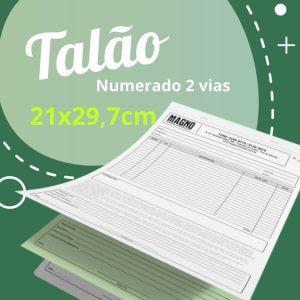 10 Talões Numerados 2 vias Autocopiativo  – Tamanho 21×29,7cm