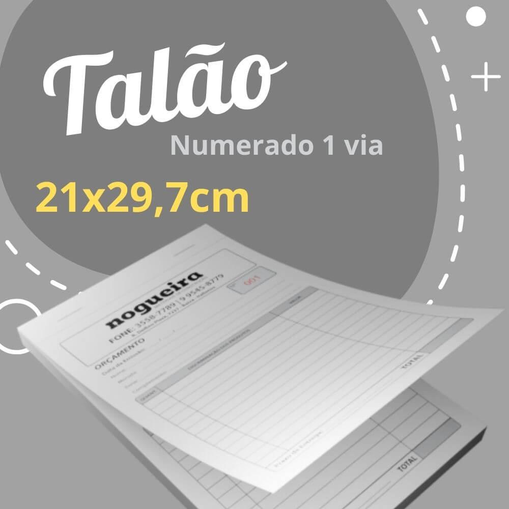 10 Talões Numerados 1 via – Tamanho 21×29,7cm