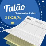 10 Talões Numerados 3 vias Autocopiativo  – Tamanho 21x30cm